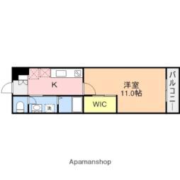 JR越後線 白山駅 徒歩19分の賃貸マンション 5階1Kの間取り