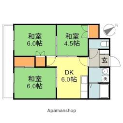 千歳パークマンション 3階3DKの間取り