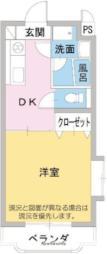 スタジオEG 1階1Kの間取り