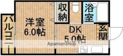 バス 井崎下車 徒歩5分の賃貸アパート 1階1Kの間取り