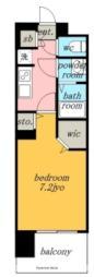 名古屋市営名城線 黒川駅 徒歩4分の賃貸マンション 5階1Kの間取り