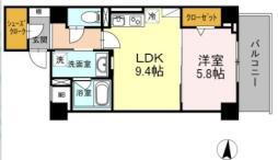 名古屋市営桜通線 久屋大通駅 徒歩6分の賃貸マンション 8階1LDKの間取り