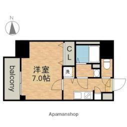 JR中央本線 鶴舞駅 徒歩5分の賃貸マンション 13階1Kの間取り