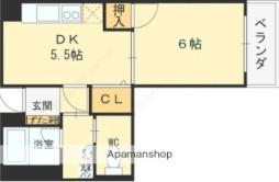 京阪本線 土居駅 徒歩5分の賃貸マンション 1階1DKの間取り