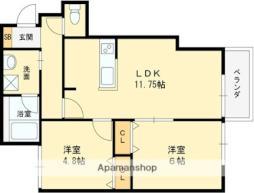 近鉄信貴線 服部川駅 徒歩13分の賃貸アパート 3階2LDKの間取り