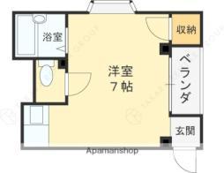 京阪本線 西三荘駅 徒歩10分の賃貸マンション 1階ワンルームの間取り