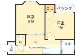 京阪本線 西三荘駅 徒歩12分の賃貸マンション 4階2Kの間取り