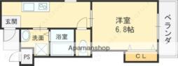 京阪本線 土居駅 徒歩2分の賃貸アパート 2階1Kの間取り