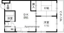 Osaka Metro谷町線 大日駅 徒歩25分の賃貸マンション 2階2DKの間取り