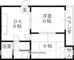 Osaka Metro長堀鶴見緑地線 鶴見緑地駅 徒歩18分の賃貸マンション 4階2DKの間取り