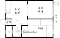 ヨシオカマンション 3階2DKの間取り