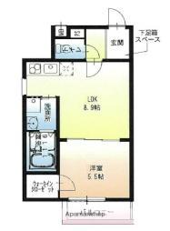 近鉄奈良線 若江岩田駅 徒歩3分の賃貸アパート 3階1LDKの間取り