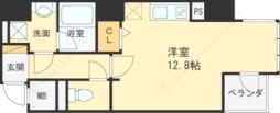Osaka Metro四つ橋線 西梅田駅 徒歩4分の賃貸マンション 8階ワンルームの間取り