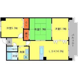 北大阪急行電鉄 桃山台駅 徒歩15分の賃貸マンション 3階3LDKの間取り
