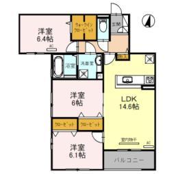 阪急宝塚本線 豊中駅 徒歩12分の賃貸アパート 2階3LDKの間取り