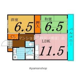 Osaka Metro長堀鶴見緑地線 横堤駅 徒歩10分の賃貸マンション 2階2LDKの間取り