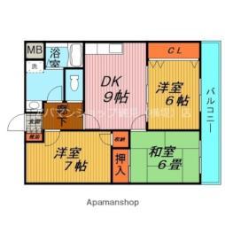 Osaka Metro長堀鶴見緑地線 横堤駅 徒歩10分の賃貸マンション 3階3DKの間取り