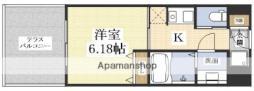 第6クリスタル新大阪 9階1Kの間取り