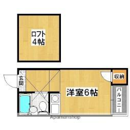 プラザ北野田 3階ワンルームの間取り