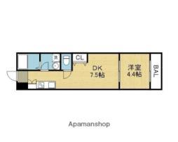JR大阪環状線 桃谷駅 徒歩7分の賃貸アパート 1階1DKの間取り