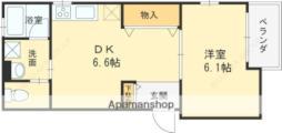 阪急神戸本線 西宮北口駅 徒歩18分の賃貸アパート 3階1DKの間取り