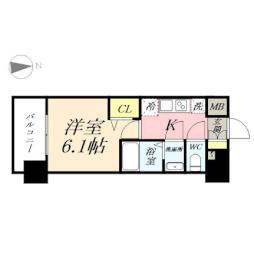 プレサンス岡山駅前 5階1Kの間取り