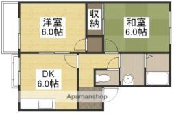 JR津山線 玉柏駅 徒歩1分の賃貸アパート 1階2DKの間取り