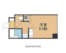 広島高速交通アストラムライン 牛田駅 徒歩32分の賃貸マンション 2階ワンルームの間取り