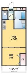 ピースリベルタkitasako C 1階1DKの間取り