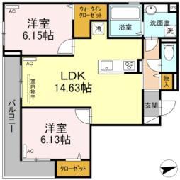 JR牟岐線 二軒屋駅 徒歩12分の賃貸アパート 2階2LDKの間取り
