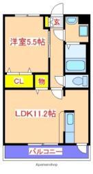 JR日豊本線 隼人駅 徒歩20分の賃貸マンション 2階1LDKの間取り