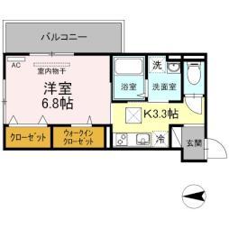 アルシオネ 岡山駅西 1階1Kの間取り