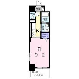 オンフォレスト芳泉 6階1Kの間取り