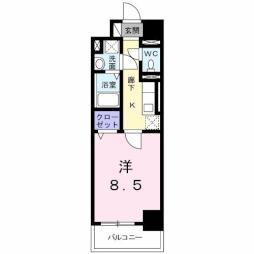 K.I.A.L 東合川ヴィラ 2階1Kの間取り