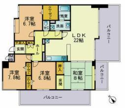 ベルメゾン赤坂フォレスト 5階4LDKの間取り