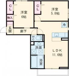 つくばエクスプレス 研究学園駅 徒歩18分の賃貸マンション 3階2LDKの間取り