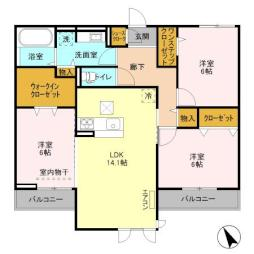 仮)D-room島名 A 3階3LDKの間取り